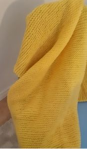 Yellow Handmade Knit Blanket